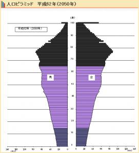2050年の日本の人口ピラミッド